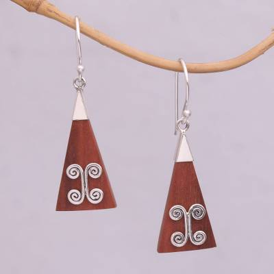 Wood and sterling silver dangle earrings, 'Reach' - Wood Triangle Sterling Silver Swirl Modern Dangle Earrings