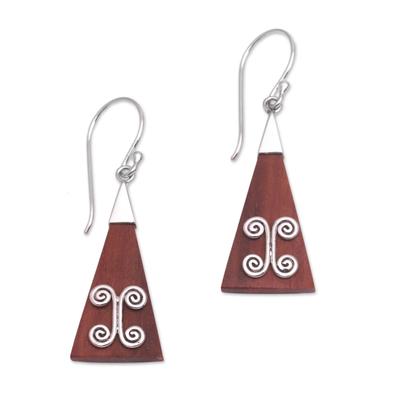 Wood and sterling silver dangle earrings, 'Reach' - Wood Triangle Sterling Silver Swirl Modern Dangle Earrings