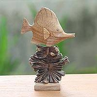 Wood sculpture, 'Tang Fish' - Hand-Carved Jempinis Wood Swimming Tang Fish Sculpture