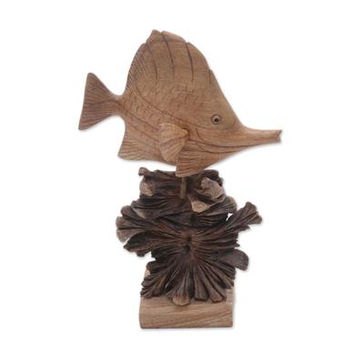 Hand-Carved Jempinis Wood Swimming Tang Fish Sculpture