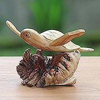 Wood sculpture, 'Turtle Current' - Hand-Carved Ocean Turtle Jempinis Wood Tree Sculpture