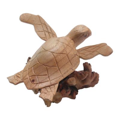 Wood sculpture, 'Turtle Current' - Hand-Carved Ocean Turtle Jempinis Wood Tree Sculpture