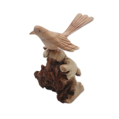 Wood sculpture, 'Canary Flight' - Hand-Carved Canary Flight Jempinis Wood Bird Sculpture