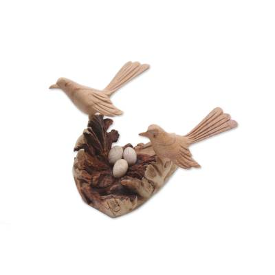 Wood sculpture, 'Canary Love' - Hand-Carved Jempinis Wood Canary Love Nest Sculpture