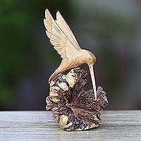 Wood sculpture, 'Hummingbird Joy' - Hand-Carved Jempinis Wood Flying Hummingbird Sculpture