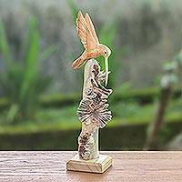 Wood sculpture, 'Hummingbird Flight' - Hand-Carved Flying Hummingbird Jempinis Wood Sculpture