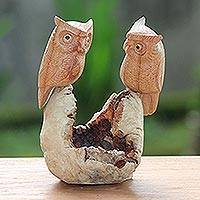 Wood sculpture, 'Owl Lovers'