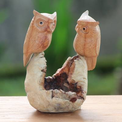 Wood sculpture, 'Owl Lovers' - Hand-Carved Jempinis Wood Owl Couple Tree Sculpture