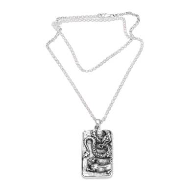 Sterling silver pendant necklace, 'Mythical Battle' - Sterling Silver Dragon and Lion Battle Pendant Necklace