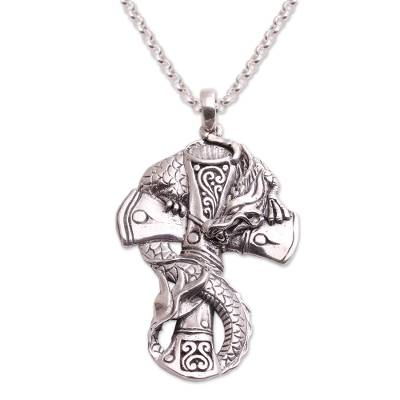 Sterling silver pendant necklace, 'Dragon Cross' - Sterling Silver Dragon and Cross Pendant Necklace from Bali