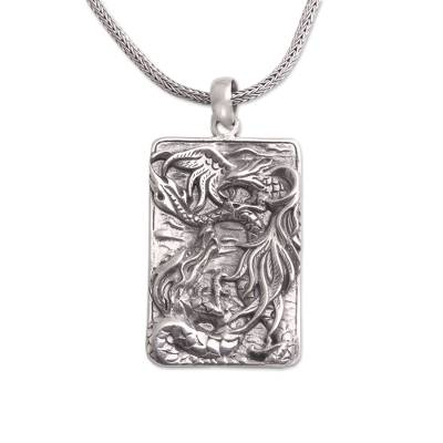 Sterling Silver Dragon Pendant Necklace from Bali