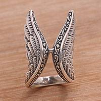 Sterling silver cocktail ring, 'Winged Glory' - Handcrafted Sterling Silver Feathered Wings Wrap Ring