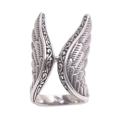 Sterling silver cocktail ring, 'Winged Glory' - Handcrafted Sterling Silver Feathered Wings Ring