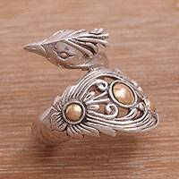 Gold accent sterling silver wrap ring, 'Prized Peacock' - Sterling Silver with Gold Accents Peacock Wrap Ring