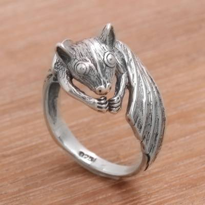 silver ring chain mail rings - Handcrafted Sterling Silver Bat Cocktail Ring from Bali