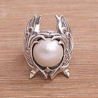 Cultured pearl cocktail ring, 'Garuda Pearl in White' - Cultured Pearl and Sterling Silver Wings Cocktail Ring