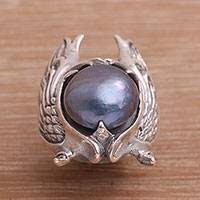 Cultured pearl cocktail ring, 'Garuda Pearl in Blue'