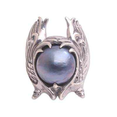 Cultured pearl cocktail ring, 'Garuda Pearl in Blue' - Cultured Blue Pearl and Sterling Silver Wings Cocktail Ring