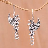 Sterling silver dangle earrings, 'Cendrawasih Aura' - Sterling Silver Flying Cendrawasih Aura Dangle Earrings