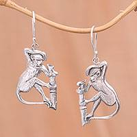Sterling Silver, 'Bojog Kual' - Sterling Silver Bojog Kual Naughty Monkey Dangle Earrings