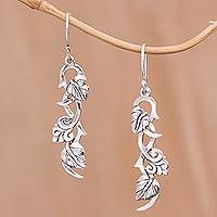 Sterling silver dangle earrings, 'Hope Vines' - Sterling Silver Leafy Hope Vine Dangle Earrings