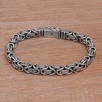 Men's sterling silver chain bracelet, 'Masculine Path' - Men's Sterling Silver Byzantine Chain Bracelet from Bali