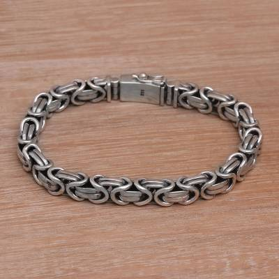 Men's sterling silver chain bracelet, 'Masculine Path' - Men's Sterling Silver Byzantine Chain Bracelet from Bali