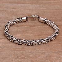 Sterling silver chain bracelet, 'Feminine Line' - Balinese Sterling Silver Byzantine Chain Bracelet