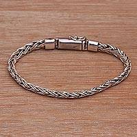 Sterling silver chain bracelet, 'Sweet Embrace' - Balinese Sterling Silver Wheat Chain Bracelet with Box Clasp