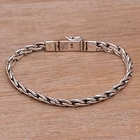 Sterling silver chain bracelet, 'Chained Melody' - Sterling Silver Wheat Chain Bracelet Adorned with Flower