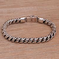 Sterling silver chain bracelet, 'Balinese Halo' - Balinese Handmade Sterling Silver Cuban Link Chain Bracelet