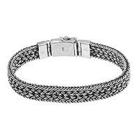 Sterling silver chain bracelet, 'Entwine' - Sterling Silver Basketweave Chain Bracelet from Bali