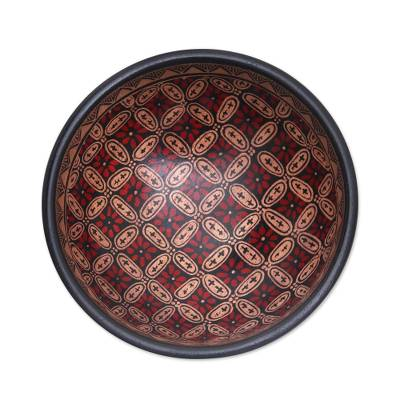 Batik wood decorative bowl, 'Truntum Parade' - Truntum Motif Batik Wood Decorative Bowl from Bali