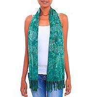 Batik rayon scarf, 'Beautiful Lagoon' - Jade Green Floral Motif Batik Rayon Scarf with Fringe