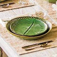 Ceramic salad plates, 'Banana Vibes' (set of 4) - Ceramic Banana Leaf Salad Plates (Set of 4) from Bali