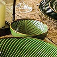 Ceramic dessert bowls, 'Banana Vibes' (set of 4) - Ceramic Banana Leaf Dessert Bowls (Set of 4)