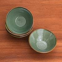 Ceramic bowls, 'Green Splendor' (set of 4) - Green Ceramic Bowls (Set of 4) from Bali