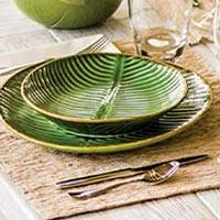 Ceramic condiment bowls, 'Banana Vibes' (set of 4) - Ceramic Banana Leaf Condiment Bowls (Set of 4)