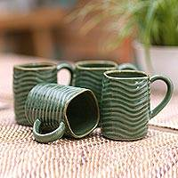 Ceramic mugs, 'Groovy Morning' (set of 4) - Green Wavy Wall Brown Rim Ceramic Mugs from Bali (Set of 4)