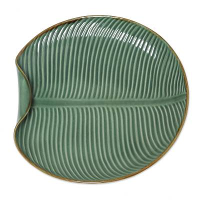 Ceramic serving plate, 'Banana Vibes' - Ceramic Banana Leaf Serving Plate from Bali