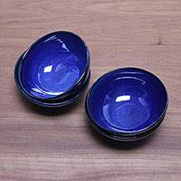 Ceramic dessert bowls, 'Blue Delicious' (set of 4)
