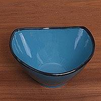 Ceramic bowl, 'Blue Wave' - Handcrafted Blue Ceramic Bowl from Indonesia
