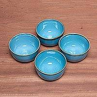 Ceramic bowls, 'Blue Pools' (set of 4) - Set of Four Sky Blue Ceramic Bowls from Indonesia