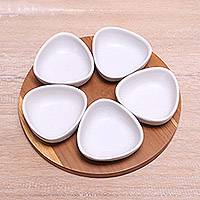 Ceramic appetizer set, 'Snowy Petals' (6 pieces) - Appetizer Set with Five White Ceramic Bowls and a Tray