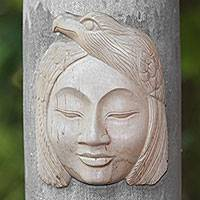 Wood mask, 'Eagle Woman' - Hibiscus Wood Mask of an Eagle Woman from Bali