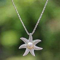 Cultured pearl pendant necklace, 'Galang Starfish in White' - Cultured Pearl Starfish Necklace in White from Bali