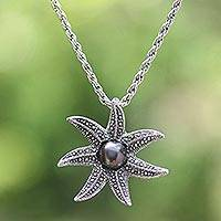 Cultured pearl pendant necklace, 'Galang Starfish in Black' - Cultured Pearl Starfish Necklace in Black from Bali