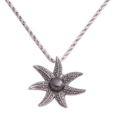 Cultured Pearl Starfish Necklace in Black from Bali