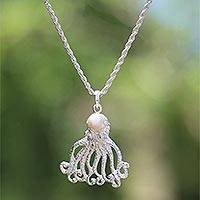 Cultured pearl pendant necklace, 'Gurita Reef' - Cultured Pearl Octopus Pendant Necklace Crafted in Bali