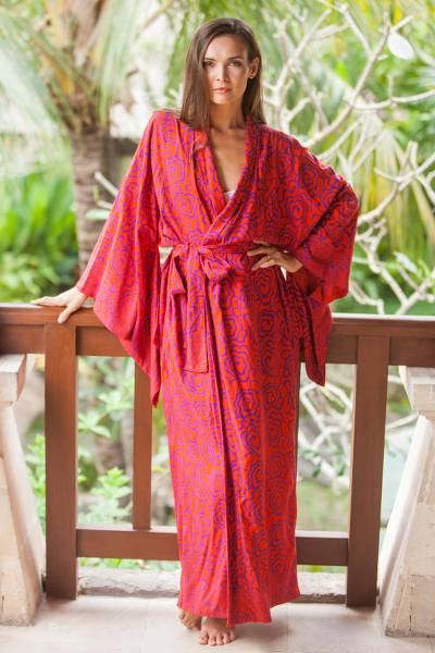 Rayon robe, Tangelo and Plum